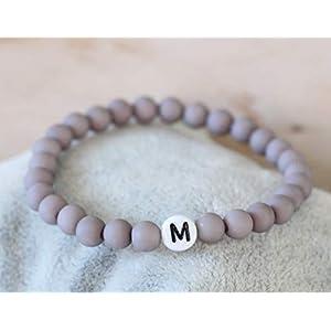 Namensarmband grau matt mit 1 Buchstaben Partnerarmband Wunschname Perlen Armband personalisiert Wunschtext Initialen Junge Kommunion Kind Herren Damen