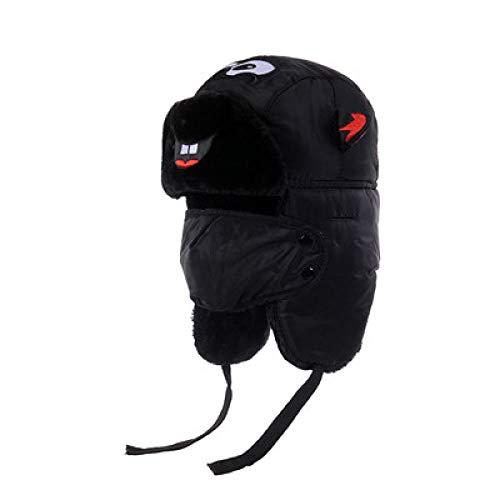 -Mütze Bomberhüte Winter Plus Samt Dicke Winddichte Kopfhörer Hut Lei Feng Hut Pilot Hut,Children's-Black ()