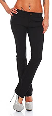 4415 Fashion4Young Damenhose Hose pants Stretch-Stoff-Mix Leder in 5 Größen Schwarz (XS=34, Schwarz)