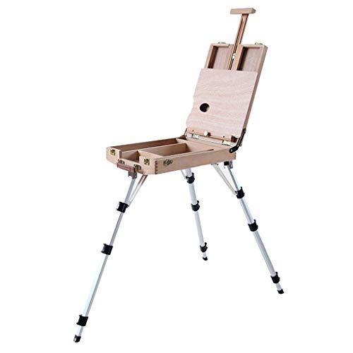 Staffelei tragbare Picture Box, Holz tragbare Skizze Ölgemälde Box, Aluminiumlegierung Bein Multifunktions, Eiche Holz Art, Toolbox -