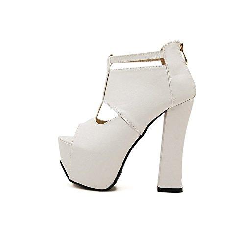 GTVERNH-white 8.5cm solo scarpe scarpe con tacchi spessa tallone la primavera e l'estate sexy svuotata di spessore inferiore a bocca di pesce scarpe piattaforma sandali.,39 Thirty-seven