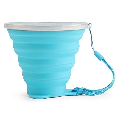 270 ml zusammenklappbare Dehnbare Ausflug Wasser Tasse Becher tragbare Wiederverwendbare platzsparende für Outdoor Wandern Picknick (Color : Blau) (Wiederverwendbare Tasse Becher)
