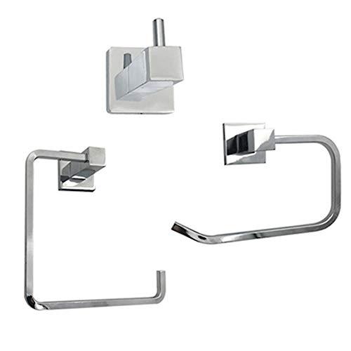 BAIVIN 3-teiliges Badezimmerzubehörset, Edelstahl Rostfrei Toilettenpapierhalter Handtuchring Kleiderhaken Wandhalterung, Chrom -