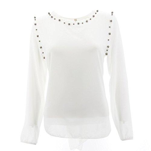 Netgozio Girlie Top Chiffon Perlen mit V-Ausschnitt-Schulter-Elegante Verschiedene Farbe Weiß eine Größe (Top V-ausschnitt Perlen Mit)