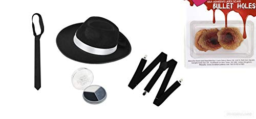 seemeinthat 998769MZ Zombie gangster lot Hat Braces Tie makeup Bullet Holes Halloween Fancy Dress