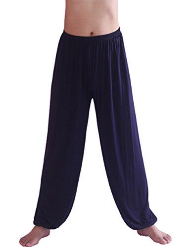 Hoerev Marke Männer Super weiches Modal Spandex Harem Yoga Pilates Hosen,Navy Blau,M -