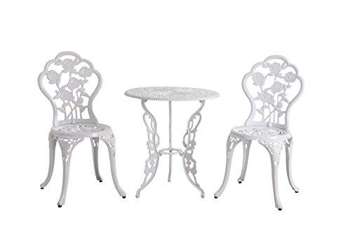 sunjoy l-bs210sco Rosier Aluminium Bistro Set mit einem Tisch und zwei Stühle, weiß, 172x 62x 87cm Bistro-stuhl