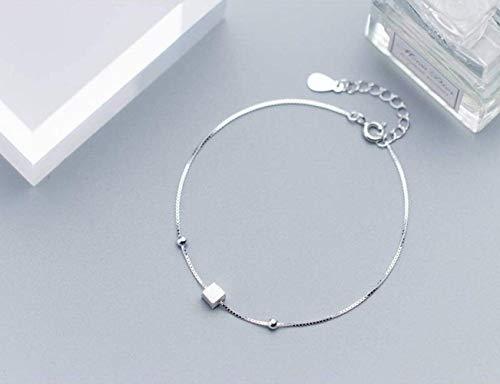Armbänder S925 Silber Armband Weibliche Mode Einfache Zeichnung Kleine Quadratische Armband Niedlichen Temperament Armband ()