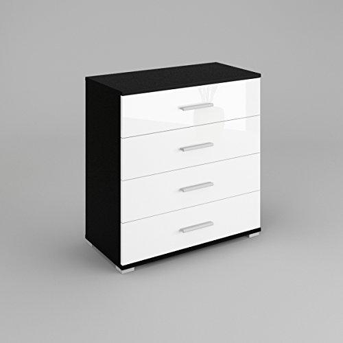 beti-commode-4-tiroirsle-corps-noir-mat-le-front-blanc-haute-brillance