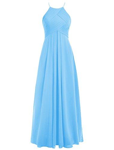 Dresstells Bodenlang Abendkleider Elegant Chiffon Brautjungfernkleider Blau