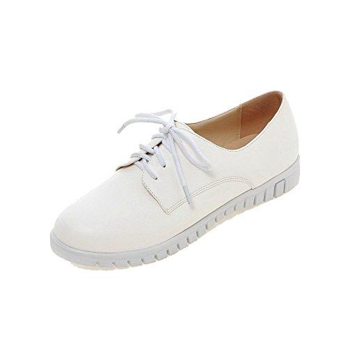 VogueZone009 Femme Couleur Unie à Talon Bas Lacet Rond Chaussures Légeres Blanc