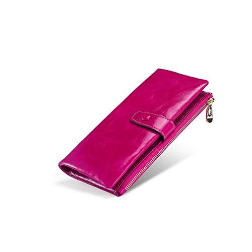 Braune Leder Scheckheft Wallet (Herren Lange Brieftasche braun Leder Clutch Herren Casual Lange Brieftasche Damen Multifunktionshandtasche Retro Anti-Theft Wallet,Rosered)