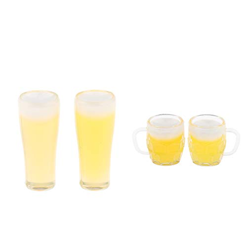 B Blesiya Miniatur Bier Tasse Becher Modell Maßstab 1/12 Puppenhaus Zubehör Spielzeug, Gelb - B Becher Modell