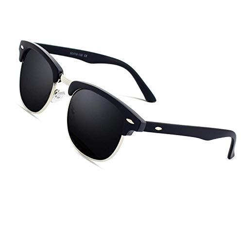 CGID MJ56 clubma Unisex Retro Vintage Sonnenbrille im angesagte 60er Browline-Style mit markantem Halbrahmen Sonnenbrille,Brillen trends 2018, 1a Matte Schwarz-grau, 51