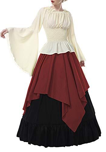 Nuoqi Damen Mittelalterliche Gothic Viktorianischen Königin Kostüm Langarm Maxi Party Kleid Top und Rock