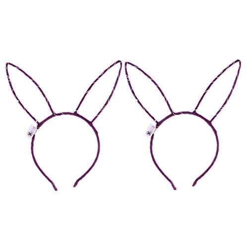 Amosfun 2pcs LED leuchten Plüsch Kaninchen Hase Ohren Stirnband Hairbands Ostern Party begünstigt Kostüme (Lila Band, Lila Licht Muster, Mit Knopfbatterie, 14ST Licht)