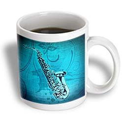 3dRose mug _ 20907 _ 1 Sax Jazz in blu tazza in ceramica, 325 ml