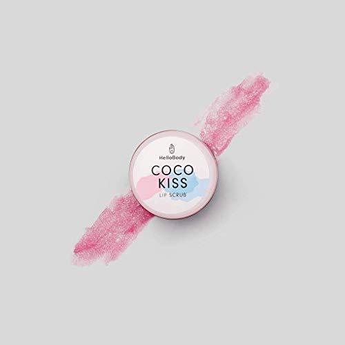 HelloBody Coco Kiss Lip Scrub (15mL) - soin lèvres - baume à lèvres pour des lèvres douces, saines & charnues - cire d'abeille, huile de coco & ka