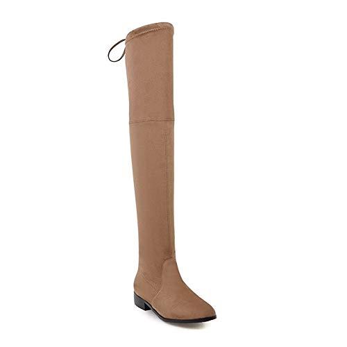 YUNGYE Damenschuhe Square Low Heel Damen Overknee Stiefel Scrub Black Pointed Toe Damen Motorradstiefel Größe 34-43 (Color : Tuose, Shoe Size : 3)