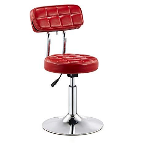 Moderner Barhocker-Stuhl-hoher Schemel Barhocker Stuhl Runde PU Rückenlehne verstellbare Swivel Gas Lift, Höhe 40-55cm für Küche Frühstück Bar Hocker Verchromte Platte Basis max. Laden Sie 150 kg Hoc