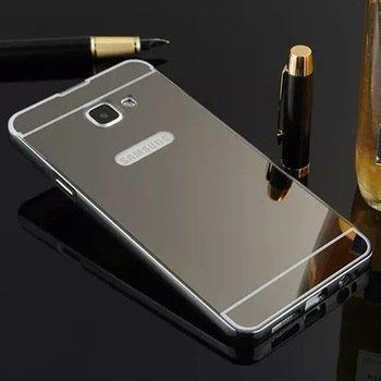 AE (TM) SAMSUNG GALAXY J7 PRIME Luxury Metal Bumper + Acrylic Mirror Back Cover Case For SAMSUNG GALAXY J7 PRIME - GREY