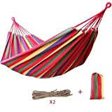 #6: DE CHOICE Brazilian Double Hammock - Extra-Long Two Person Portable Hammock Bed for Any Indoor or Outdoor Spaces MULTICOLOUR- 2 Hanging Rope and Carrying Pouch Included.