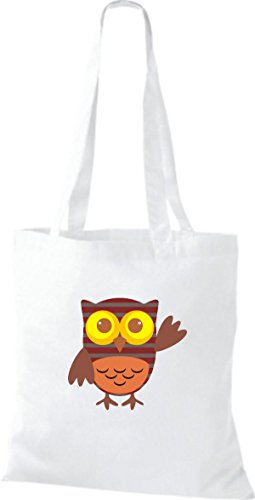 ShirtInStyle Jute Stoffbeutel Bunte Eule niedliche Tragetasche Owl Retro diverse Farbe, weiss