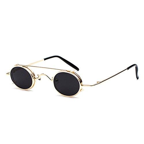 Juleya Retro Vintage Sonnenbrille Damen Herren Kleine Runde Steakpunk Abnehmbare Sonnenbrille C4