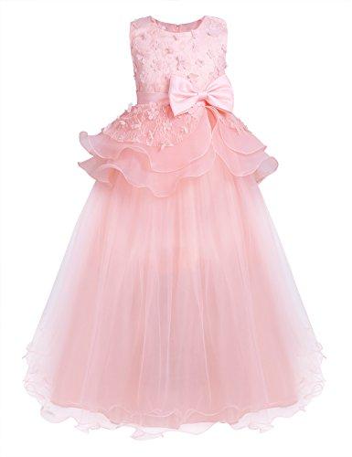Freebily Kinder 3D Blumenmädchenkleider Prinzessin Kleid Brauntjungfernkleider Hochzeit Festlich Kleider Party Kleid Ärmellos Spitze Kleid mit Bowknot Perlen Pink 104-110/4-5 Jahre