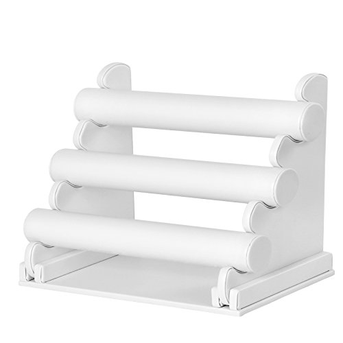 SONGMICS 3-Bar Bracelet Holder for Necklace, Jewelry Display Rack and Organizer Stand White JDS101