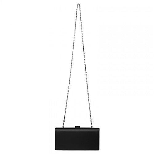 CASPAR klassische Damen Satin Clutch / Abendtasche mit stylischem Innenstoff in Leoprint / Hardcase - viele Farben - TA326 schwarz