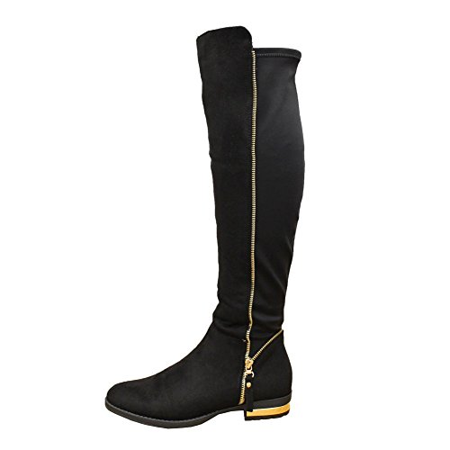 d64d492531c Ladies Womens Thigh Over Knee High Stretched Zip Gold Trim Heel Boots.