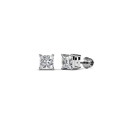 Pretty Jewellery White Gold Fn 925 Silver 3mm Princess Cut Simulated Diamond Solitaire Stud