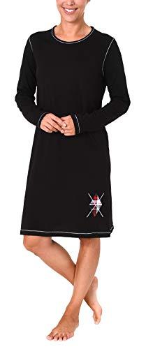 Damen Nachthemd Bigshirt von Normann - auch in Übergrössen bis Gr. 60/62-281 213 90 820, Farbe:schwarz, Größe2:48/50