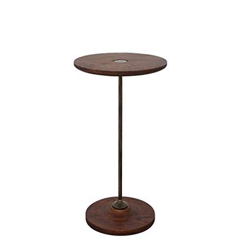 ZBM-ZBM Massivholz Beistelltisch, Wohnzimmer Schmiedeeisen Mini Eiche Couchtisch Runde Einfaches Design Retro Holzmaserung Sofa Seite (Größe: D35 × H50CM) -