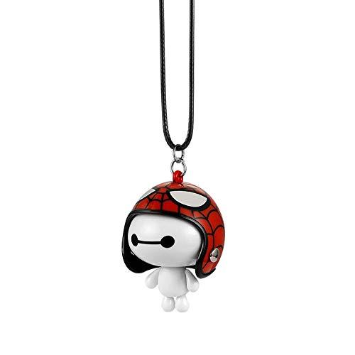 Moocevill - Auto-Anhänger Netter Helm Baymax Roboter-Puppe hängende Ornamente Automobile Rückspiegel Suspension Dekoration Accessoires Geschenke [Rot   Schwarz Weiß]
