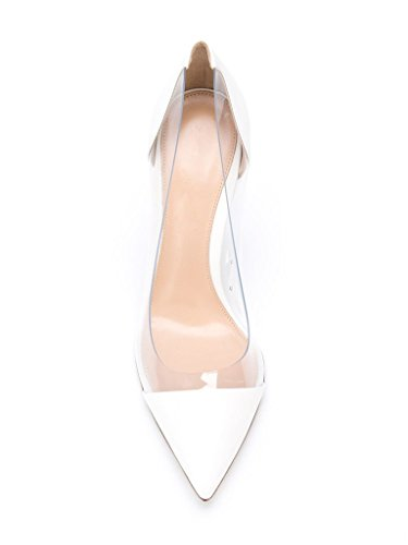 Kolnoo 10CM Damenschuhe Pumps Bequeme Lack Stilettos Transparent Schuhe MatteWhite