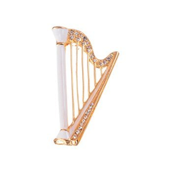 Nakano Emaille Brosche Harfe weiß je-38/W