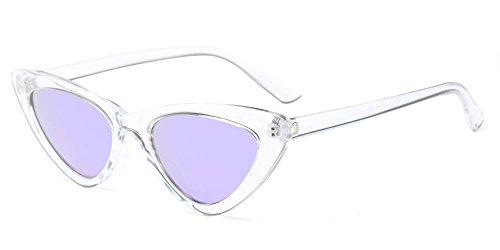 BOZEVON Damen Triangle Sonnenbrille - UV400 Brillen Katzenauge Retro Jahrgang Cat Eye Sonnenbrillen Weiß Lila