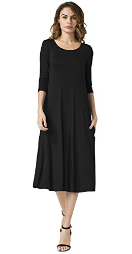 POSESHE-New-Womens-34-Sleeves-Casual-Plain-Simple-Pockets-Loose-T-shirt-DressSize-8-20