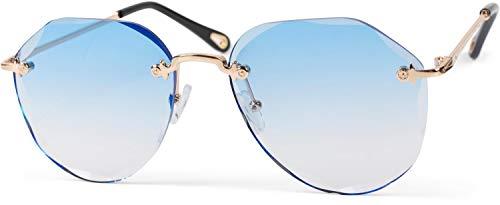 styleBREAKER Damen Piloten Sonnenbrille Rahmenlos mit getönten Gläsern im Diamant Schliff, Geprägte Bügel, Vieleckige Gläser 09020106, Farbe:Gestell Gold/Glas Blau Verlauf