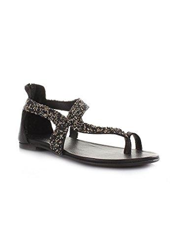 INUOVO 6025 nero sandali donna infradito zip strass onda Nero