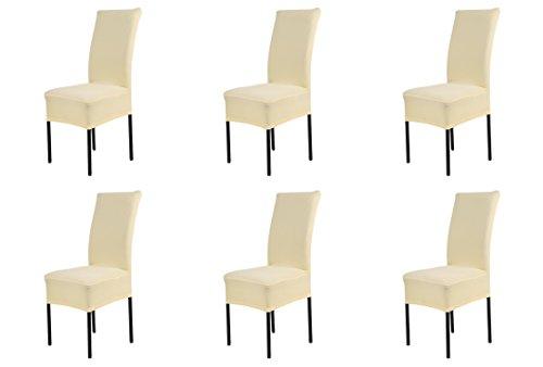 6 pezzi coprisedie con schienale elasticizzato copertura della decorativo protezione in stretch in tessuto con banda elastica per una misura universale, copri sedie sala da pranzo coprisedia molto facile da pulire e di lunga durata