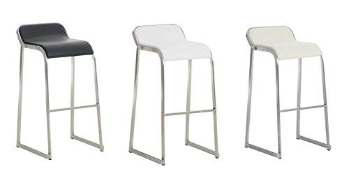 CLP Tabouret de Bar Design PALAU - Revêtement Similicuir - Chaise de Bar Design avec Repose-pied - Piétement en Acier Inoxydable - Hauteur du Siège 76 cm - Couleur au Choix : crème