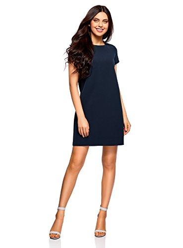 oodji Collection Damen Gerade Geschnittenes Kleid Basic, Blau, DE 38 / EU 40 / M (Schuhe Blaues Kleid)