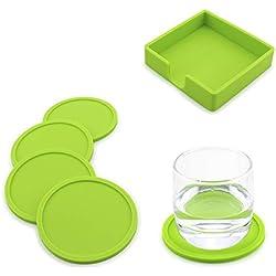 Miaoo Silikon-Untersetzer für Getränke, 5 Stück grün