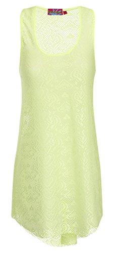 Modische Damen Crochet Detaillierte lang Weste Top in Coral oder lime Lime