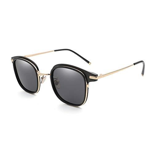 YJiaJu Vintage Retro Quadrat Sonnenbrillen Damen Polarisierte Vielseitige Mode Sonnenbrillen Trend Mode Bunte Sonnenbrillen Für Frauen der Frauen UV400 (Color : Black)
