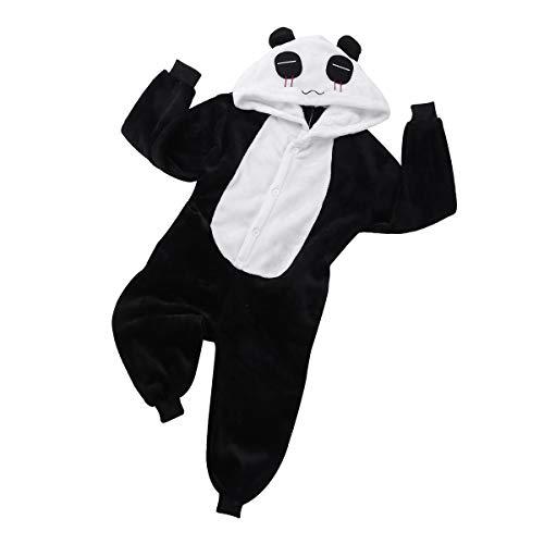 Panda Fu Kostüm Kung - iEFiEL Panda Kostüm für Kinder Unisex Pyjamas Kung Fu Tier Kostüm Fasching Karneval Overall Jumpsuit Schlafanzug 2-12 Jahre Schwarz & Weiß 122-128