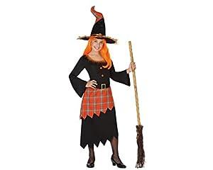 Atosa 28075 - bruja, chica, tamaño 128, negro/naranja